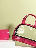Women Cosmetic Bag PVC PU All Seasons Casual Outdoor Rectangle Zipper Fuchsia Yellow Blushing Pink