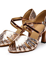 Women's Latin Synthetic Heels Professional Flower Pattern/Print Cuban Heel Gold 2
