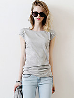 Women's Sports Casual/Daily Street chic Spring Summer T-shirt,Solid Round Neck Short Sleeve Cotton Thin