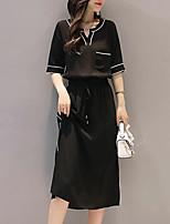 Для женщин На каждый день Большие размеры Простое Маленькое черное Платье Однотонный,V-образный вырез Средней длины Рукав до локтя