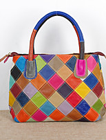 Women Tote Cowhide All Seasons Casual Rectangle Split Joint Plaid Zipper Rainbow