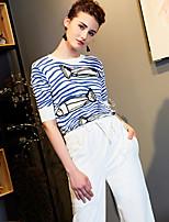 Standard Pullover Da donna-Per uscire Casual Ufficio A strisce Rotonda Mezza manica Nylon Autunno Medio spessore Elasticizzato