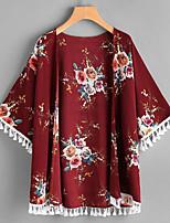 Women's Street Boho Street chic Summer Blouse,printing Cowl 3/4 Length Sleeve Chiffon Thin