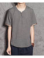 Men's Casual/Daily Simple Polo,Solid Button Down Collar Short Sleeves Cotton