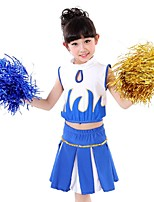 Cheerleader Costumes Outfits Kid's Performance Polyester Trims 2 Pieces Sleeveless High Skirts Tops