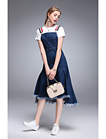 TYZEE Women's Holiday Going out Casual/Daily Simple Spring Summer T-shirt Skirt SuitsSolid Round Neck Short Sleeve Micro-elastic