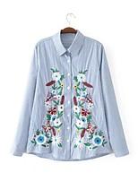 Для женщин На каждый день Праздники На выход Весна Осень Рубашка Рубашечный воротник,Секси Простое Уличный стиль Полоски ВышивкаДлинный