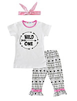 Girls' Print SetsCotton Summer Short Sleeve Clothing Set Wild One T Shirt Pants with Headband 3pcs Outfits for Kids Girls