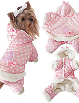 Dog Clothes/Jumpsuit Dog Clothes Casual/Daily Keep Warm Polka Dots Beige Blushing Pink