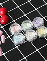 6Bottles/Set Summer Fashion Nail Art Irregular Flake Powder Sea Beach Candy Colors Holographic Glitter Paillette Colorful Decoration Nail DIY Beauty