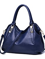 Women Tote PU All Seasons Event/Party Casual Outdoor Square Zipper Deep Blue Brown Wine Black White