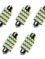 5PCS Car Festoon Dome Lamp 41MM 1.5W 16SMD 3528 Chip 80-100LM White 6500-7000K DC12V Reading Light License  Plate Lights