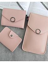 Women Coin Purse PU All Seasons Casual Outdoor Round Zipper Gray Blushing Pink Black
