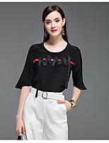 CELINEIA Women's Casual/Daily Boho T-shirtSolid Color Block Round Neck Half Sleeve Silk