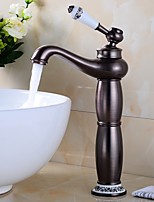 Deck Mounted Solid Brass Bathroom Sink Basin Tall Body Faucet ORB Brass Ceramic Handle Retro Style Mixer Tap