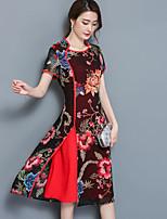 Women's Plus Size Casual/Daily Sheath Dress,Print Round Neck Knee-length Short Sleeve Chiffon Satin Summer Mid Rise Micro-elastic Medium