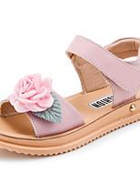 Girls' Flats Comfort Cowhide Spring Fall Casual Walking Comfort Magic Tape Low Heel Light Blue Blushing Pink White Flat