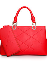Women Bags All Seasons PU Bag Set with for Casual Black Red