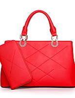Mujer Conjuntos de Bolsa PU Todas las Temporadas Casual Baguette Cremallera Negro Rojo