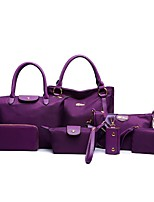 Women Bag Sets PU All Seasons Casual Shopper Zipper Purple Blushing Pink Red Black Blue
