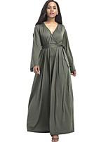 Feminino Solto balanço Vestido,Casual Tamanhos Grandes Moda de Rua Sólido Decote V Longo Manga Longa Algodão Poliéster Todas as Estações