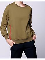 Women's Casual Sweatshirt Solid Round Neck Inelastic Cotton Long Sleeve Fall