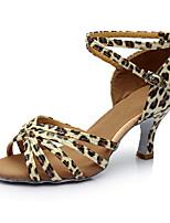 Damen Latin Kunstleder Sandalen Innen Maßgefertigter Absatz Leopard Maßfertigung