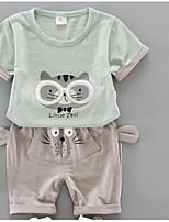 Girls' Embroidered Sets,Polyester Summer Short Sleeve Clothing Set