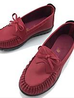 Для женщин Мокасины и Свитер Удобная обувь Ткань Микроволокно Весна Осень Повседневные Для прогулок Удобная обувь Бант На плоской подошве