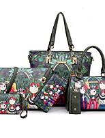 Women Bag Sets PU All Seasons Event/Party Formal Office & Career Geometric Rivet Zipper Zipper Green