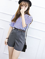 Women's Casual/Daily Striped Casual Summer T-shirt Pant Suits,Striped V Neck Short Sleeve Micro-elastic