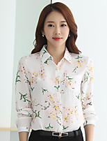 Women's Party/Cocktail Going out Casual/Daily Work Cute Street chic Sophisticated Spring Fall Blouse,Solid V Neck Long Sleeve Polyester