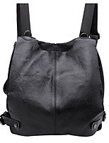 Women Backpack Cowhide All Seasons Casual Round Zipper Black 10-20