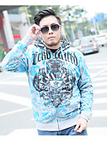 Men Daily Hoodie Print Hooded Micro-elastic Cotton Long Sleeve Fall