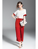 QIN QIN Women's Holiday Going out Casual/Daily Work Simple Summer T-shirt Pant SuitsSolid Round Neck Short Sleeve Inelastic