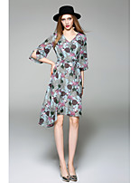 WHALE STUDIO Women's Going out Casual/Daily Simple Chiffon DressFloral V Neck Knee-length Half Sleeve Polyester Spring Summer Mid Rise Micro-elastic