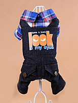 Dog Clothes/Jumpsuit Dog Clothes Casual/Daily Plaid/Check Blue Ruby