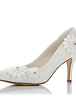 Women's Heels Basic Pump Fall Winter Lace Satin Wedding Dress Party & Evening Applique Stiletto Heel Ivory 3in-3 3/4in