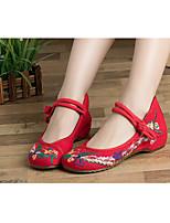 Для женщин Мокасины и Свитер Удобная обувь Ткань Весна Повседневные Удобная обувь Черный Красный На плоской подошве