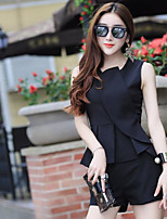 Women's Other Casual Simple Other Summer Tank Top Pant Suits,Solid Asymmetrical Sleeveless