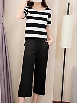 Women's Other Casual Simple Summer Shirt Pant Suits,Solid Striped Round Neck Short Sleeve