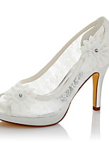 Women's Sandals Comfort Summer Fall Lace Satin Wedding Dress Party & Evening Applique Stiletto Heel Ivory 4in-4 3/4in