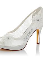 Da donna Sandali Comoda Di pizzo Raso Estate Autunno Matrimonio Formale Serata e festa Comoda Lustrini A stiletto Avorio 10 - 12 cm
