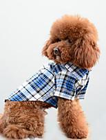 Cachorro Camiseta Roupas para Cães Casual Xadrez Laranja Vermelho Azul