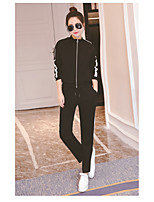 Women's Other Casual Other Spring Fall Hoodie Pant Suits,Solid Letter Crew Neck Long Sleeve