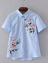 Women's Daily Casual Simple Shirt,Striped Embroidery Shirt Collar Short Sleeve Cotton