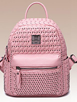 Women Backpack PU All Seasons Casual Round Zipper Silver Blushing Pink 10-20