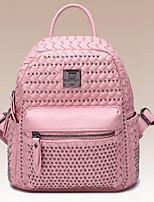 Women Backpack PU All Seasons Casual Round Zipper Blushing Pink Silver 10-20