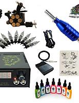 kits de tatouage pour débutants 1 x Machine à tatouer en acier pour le traçage et l'ombrage LCD alimentation5 x Aiguilles de tatouage RL