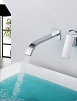 Contemporary High Quality Waterfall with  Single Handle Double Holes for  Chrome Hot And Cold Water Tap Bathroom Basin Sink Faucet